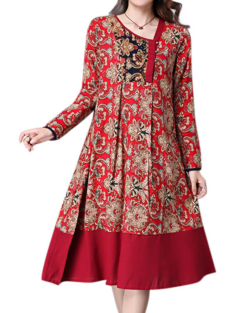 エスニック花柄プリントパッチワーク裾ロングスリーブルーズドレス