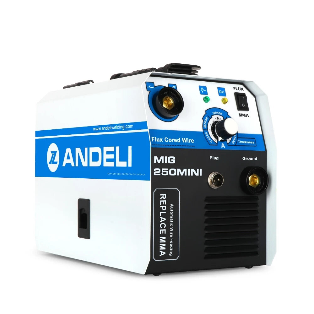 ANDELI MIG-250Mini Portable Household 220V Semi-automatic Welding Machine without Gas Flux Core Wire MIG Welding Machine