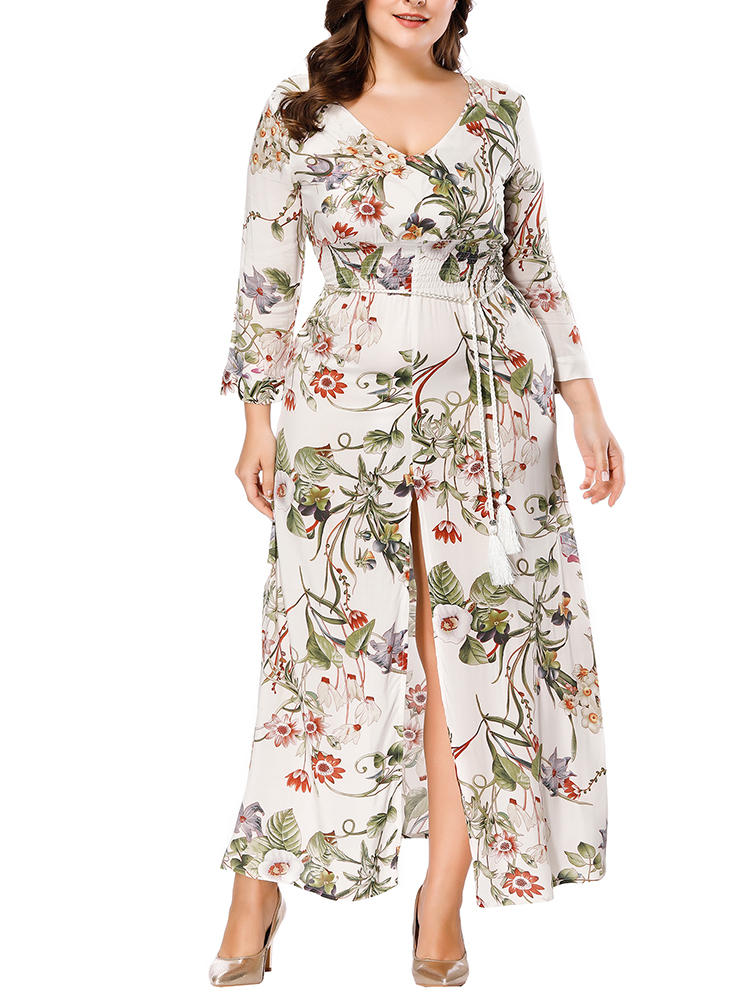 Plus Size Bohemian Floral Print Long Sleeve Maxi Dress