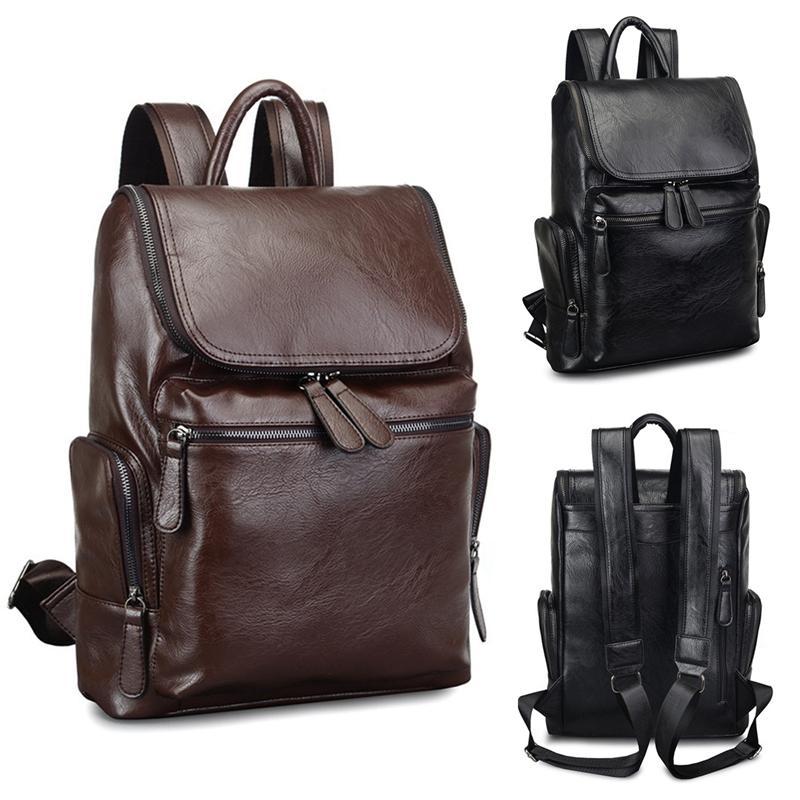 Men/'s PU Leather Bag Waterproof Backpack Rucksack Travel School Satchel Laptop