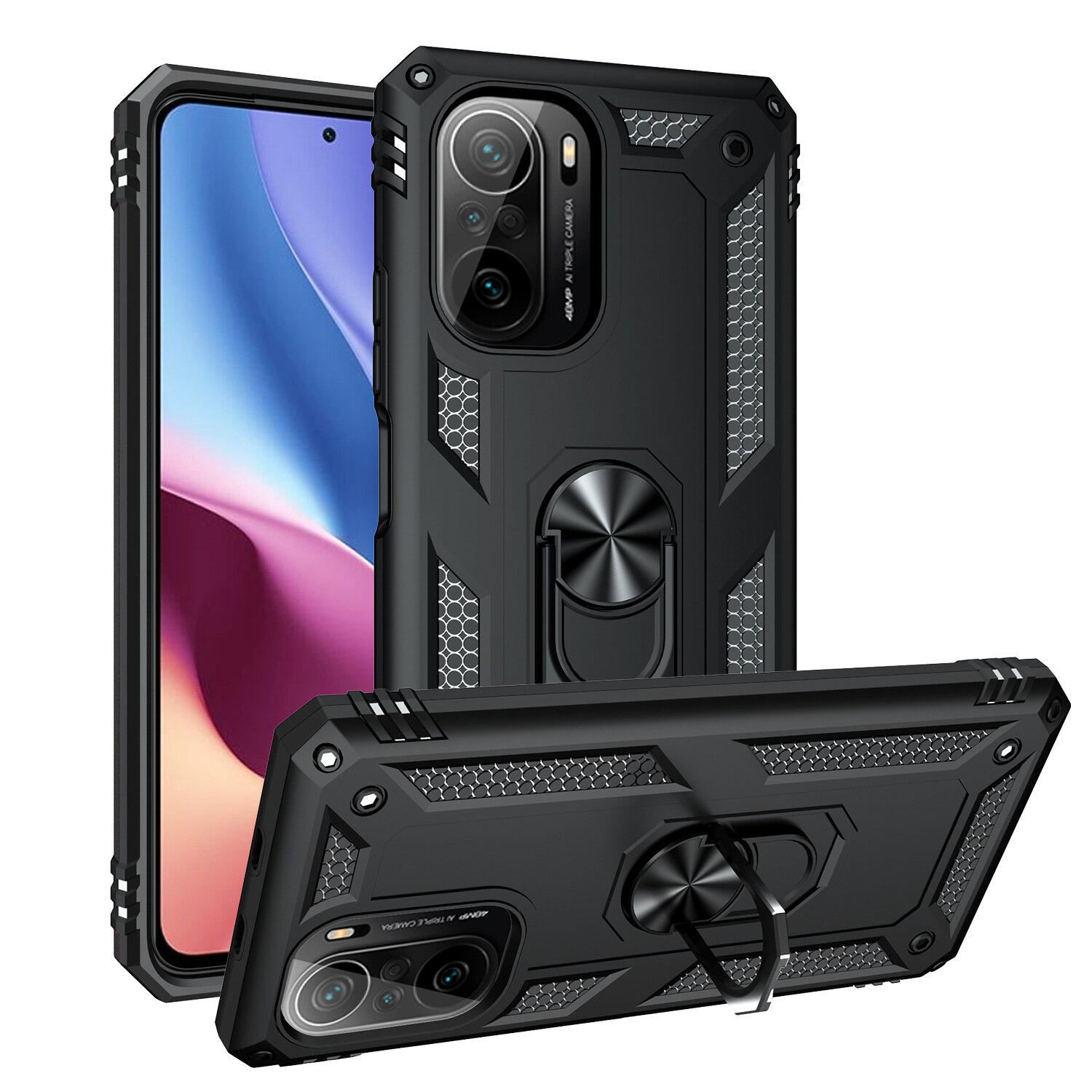 Bakeey for POCO F3 Global Version Case Armor Bumpers Shockproof Magnetic with 360 Rotation Finger Ring Holder Stand PC P