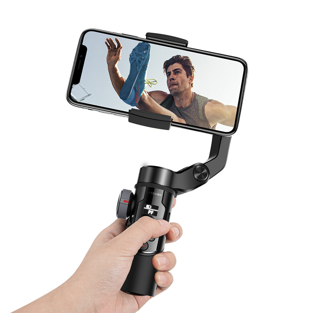 BlitzWolf BW BS14 Pro 3 Axis Gimbal Stabilizer with Dual Zoom Movable Time lapse Foldable Selfie Sticks Tripod for Action Camera Phone