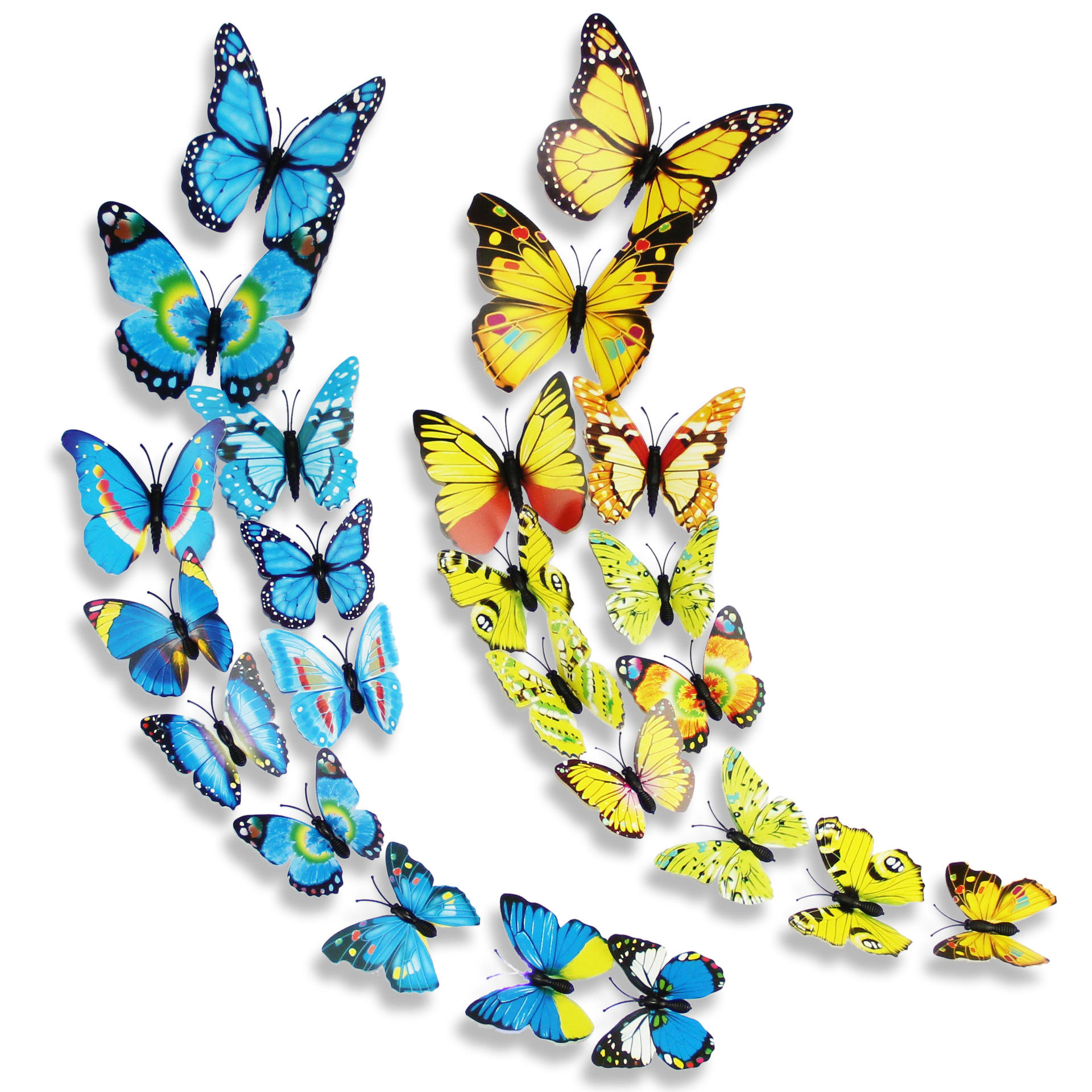 12 Pcs PVC Butterfly Double-Deck 3D Wall Stickers Home Decor Adhesive Wall Decoration