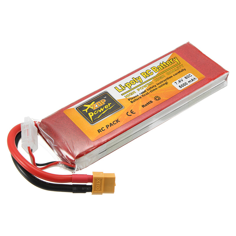 ZOP Power 7.4V 5000mAh 60C 2S Lipo Battery XT60 Plug For Rc Racing Car