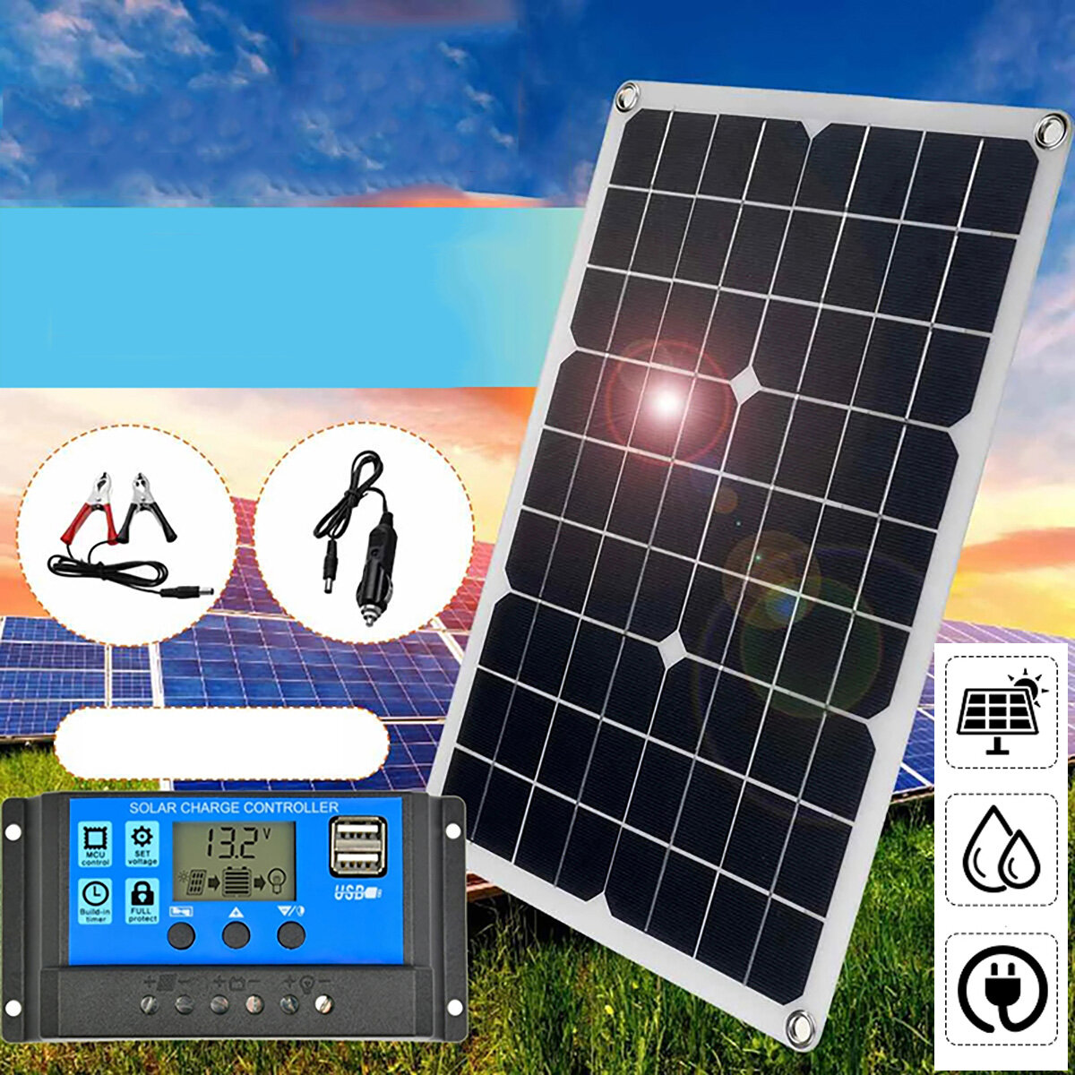 40W Solar Panel Dual 12V USB With 60A 100A Controller Waterproof Solar Cells Poly Solar Cells for Car Yacht RV Battery C