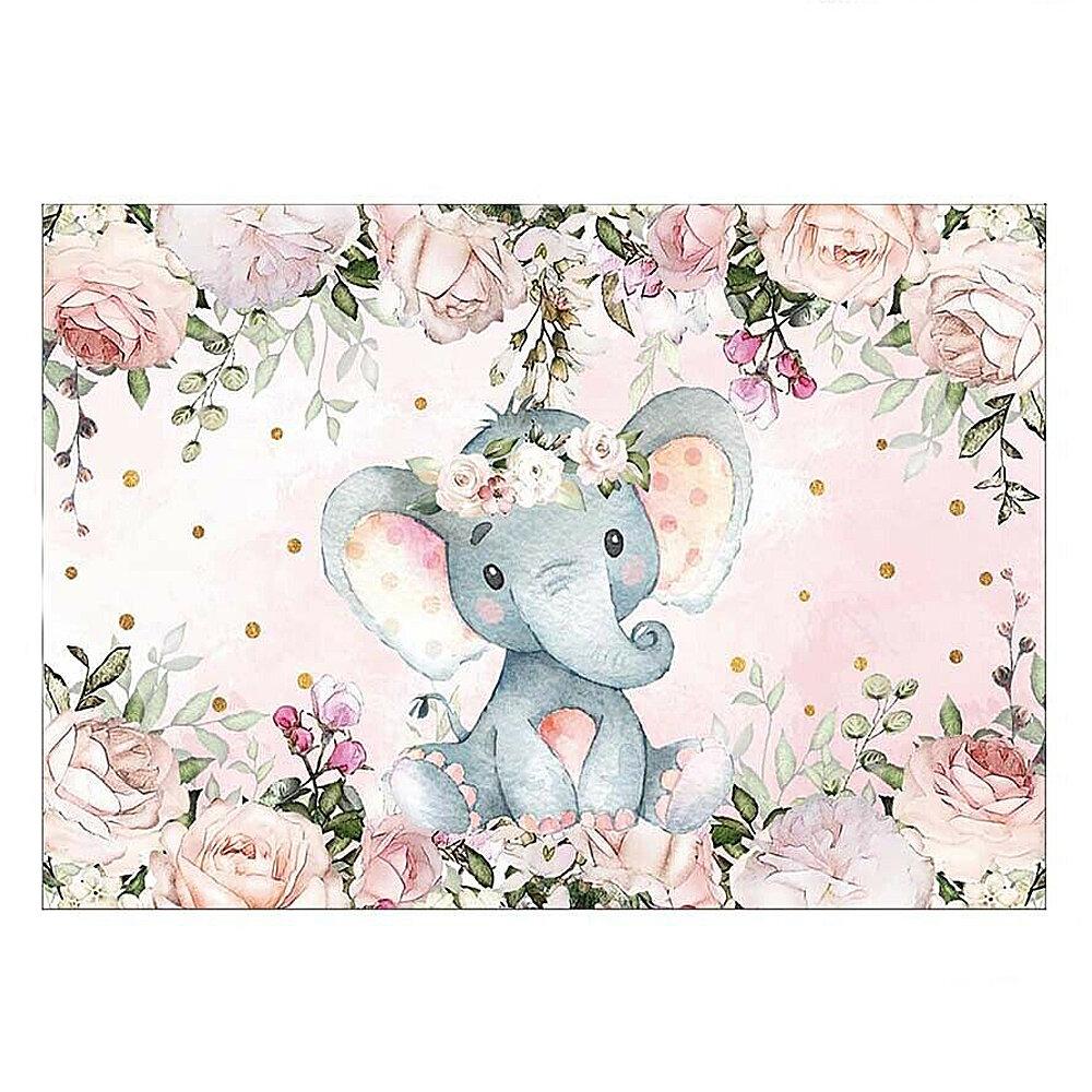 220x150cm 150x100C Девушка Слон Baby Shower Фон Винил Слон Фотография Фон Фото Реквизит