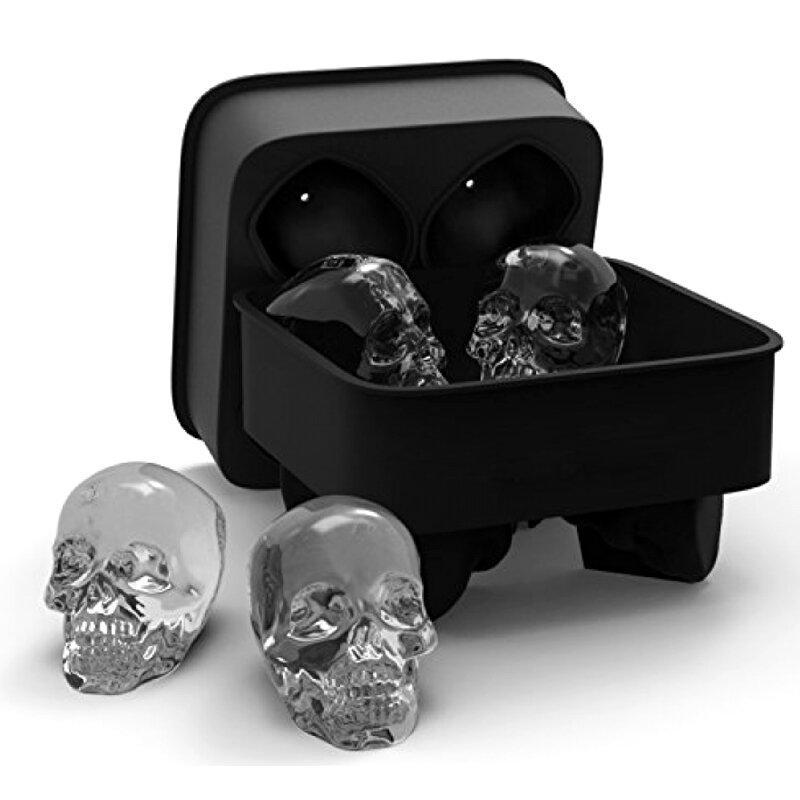 KCASA 3D Skull Flexible Silicone Ice Cube Mold Tray Easy Release Realistic Skull Ice Cube Maker