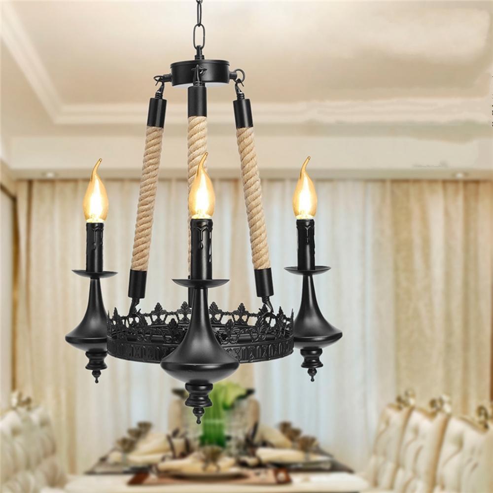 E14 3 Heads Iron Chandelier Living Room Dining Room Ceiling Light Pendant Light Ac110 220v