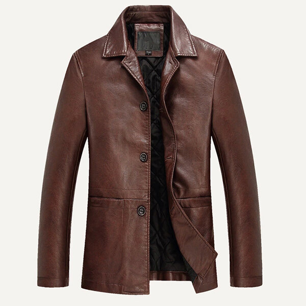 Faux Leather Jackets Winter Plus Thick Single-breasted PU Business Casual Blazers for Men