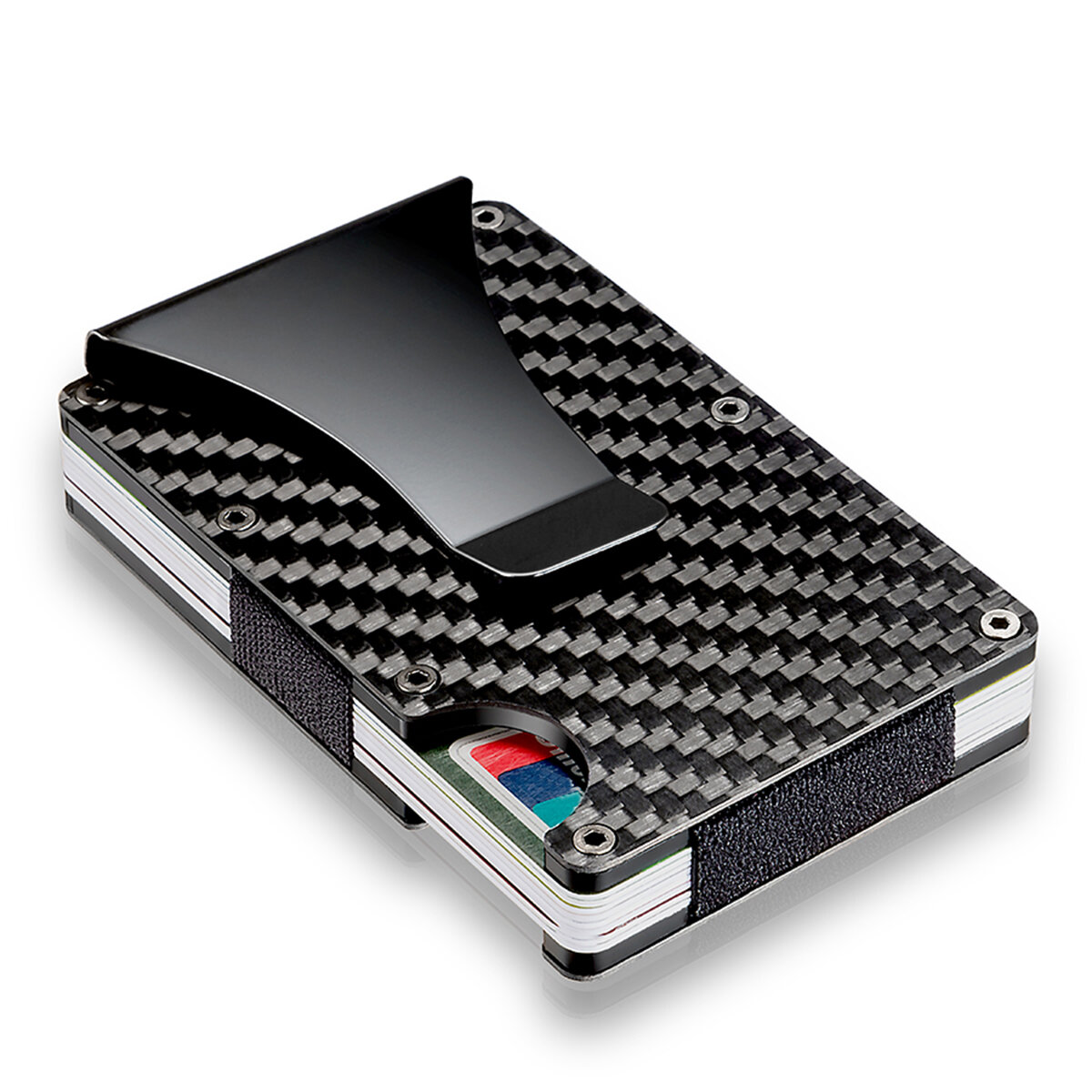 new styles 512da 40bfd Slim Carbon Fiber Credit Card Holder RFID Blocking Metal Wallet Money Clip  Case