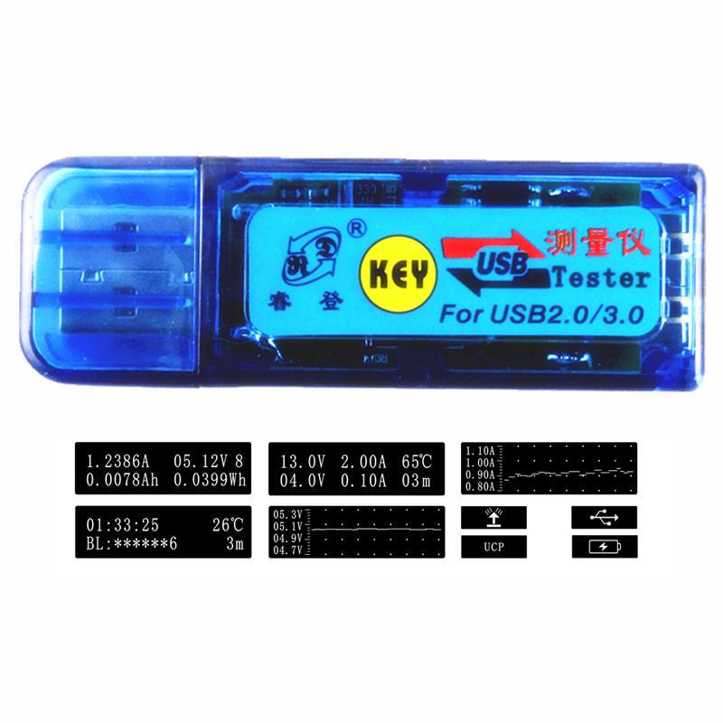 UPGRADE USB 2.0/3.0 USB Current Voltage Tester Capacity Energy Temperature Tester Voltage/Current Measurement Curve 04.00-24.00V 0.0000-3.0000A
