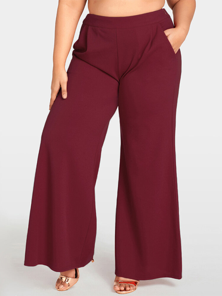 Women Plus Size Work Style Solid Color High Waisted Wide Leg Pants