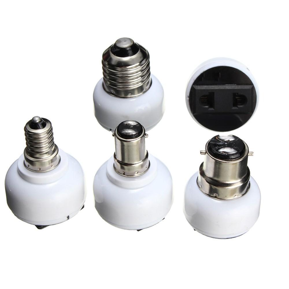 Bộ điều hợp bóng đèn E27 E14 B22 B15D Chủ sở hữu ổ cắm chuyển đổi sang ổ cắm điện nữ US / EU