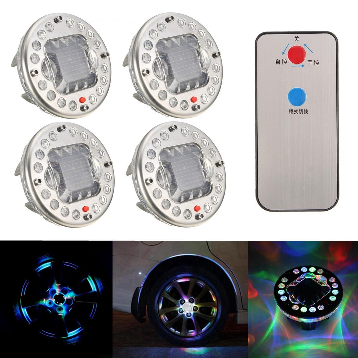 4 Cái LED Năng lượng mặt trời Xe Bánh Xe Lốp Flash Light Valve Cap Đèn RGB với Bộ điều khiển từ xa