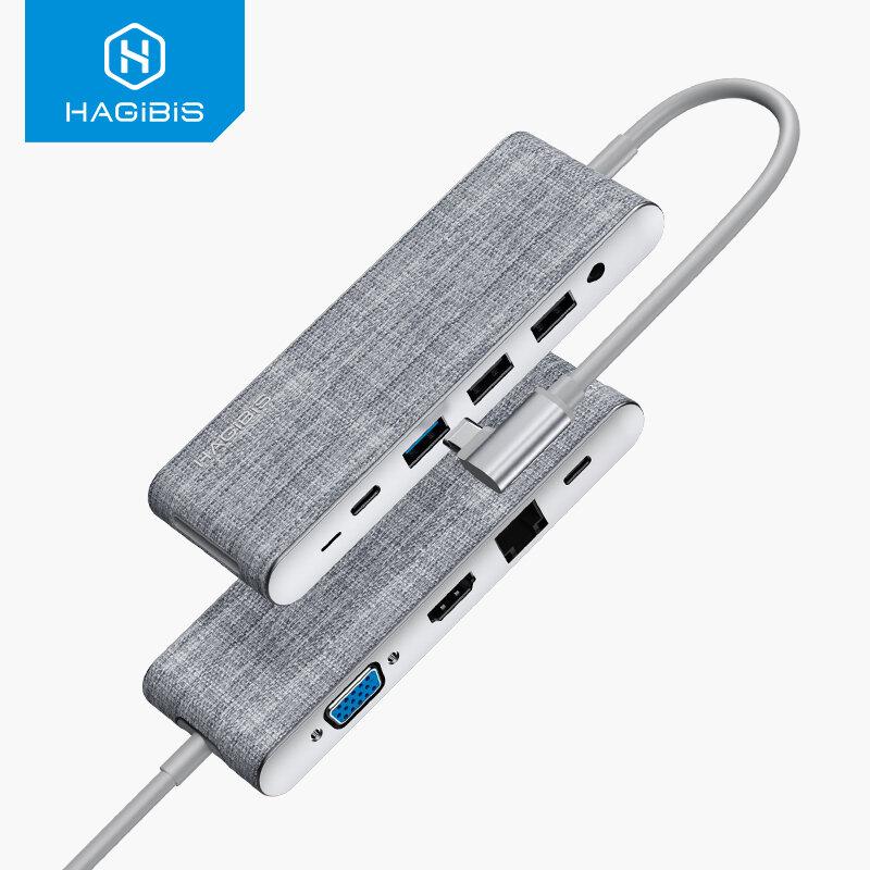 Hagibis USB-C Hub Docking Station Adapter With 4K HDMI HD Display / 1080P VGA / 100W USB-C PD3.0 Power Delivery / USB-C
