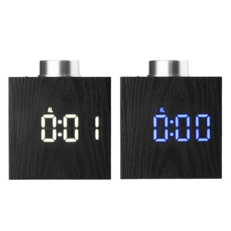 TS-T13 Digital Cube Rotate Knop LED Clock Adjustable Temperature °C / °F Time 12H/24H Display 3 Mode Snooze Function Alarm Clock Night Light USB Battery Operated Alarm Clock