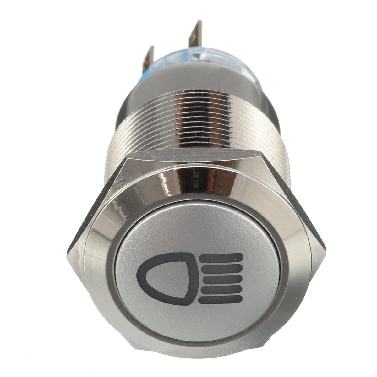 12V 19mm Perak Logam LED Push Button ON OFF Latching Beralih Simbol Cahaya