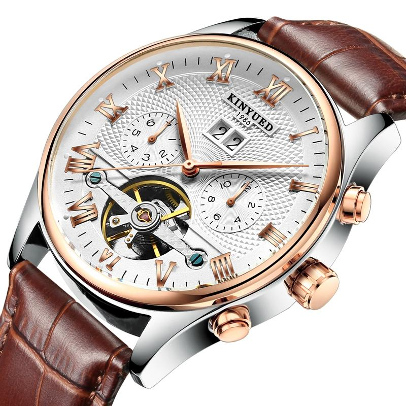 KINYUED JYD-J012 Calendar Automatic Mechanical Watch Roman Numeral Leather Strap Men Watch