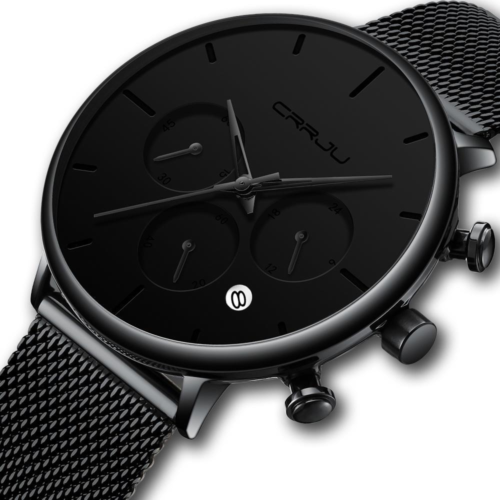 CRRJU 2271 Men Simple Atmospheric Dial Color Design Needle Full Mesh Steel Band Quartz Watch