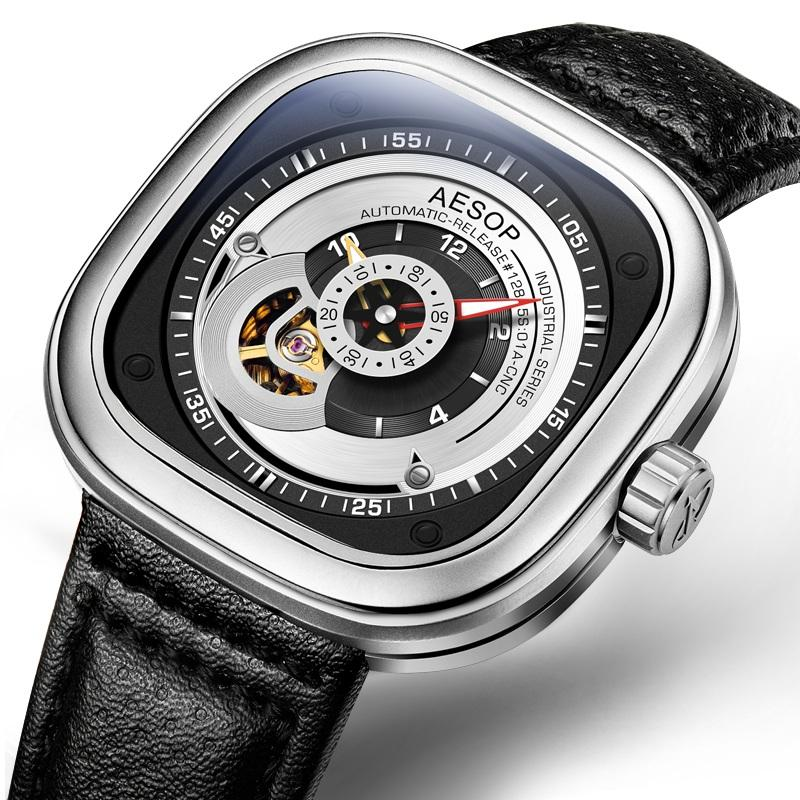 AESOP 9023 Industrial Series Automatic Mechanical Watches Business Style Leather Strap Men Watch