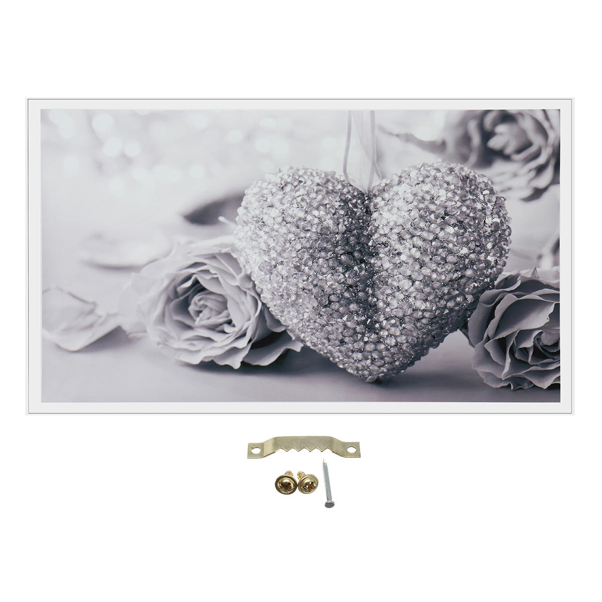 45x80cm Large Frameless Rose Black White Grey Canvas Wall Art Picture Decor