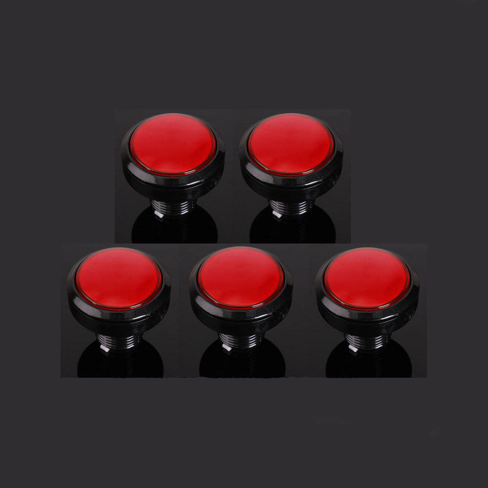 5Pcs Red 45mm Arcade Video Game Big Round Push Button LED Lighted Illuminated Lamp