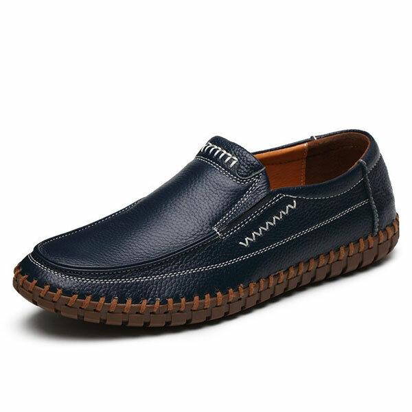 Giày Banggood Đàn ông Da thật Khâu tay Soft Giày đế bằng