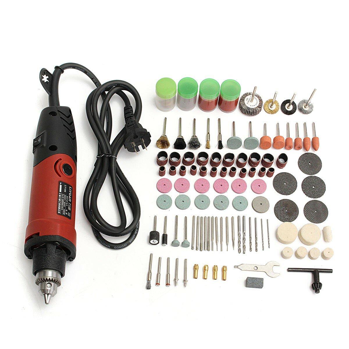 Drillpro 400W 220V Электрический Дрель Измельчитель переменной скорости Вращающийся Инструмент с 161шт аксессуарами