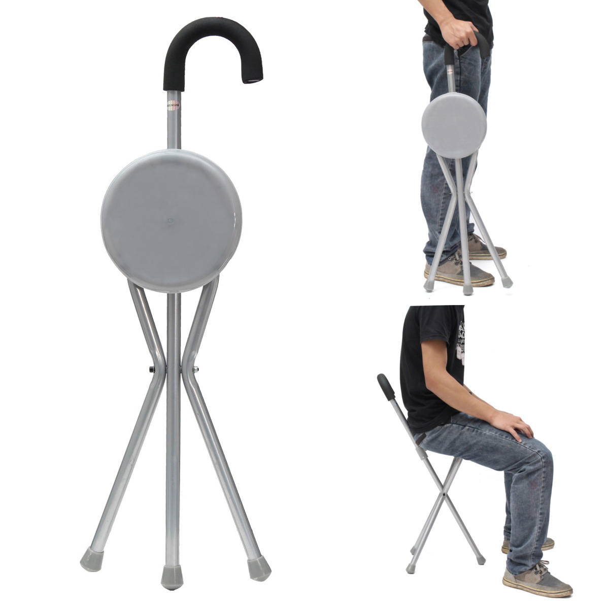 Outdoor Travel Folding Stool Chair Portable Tripod Cane