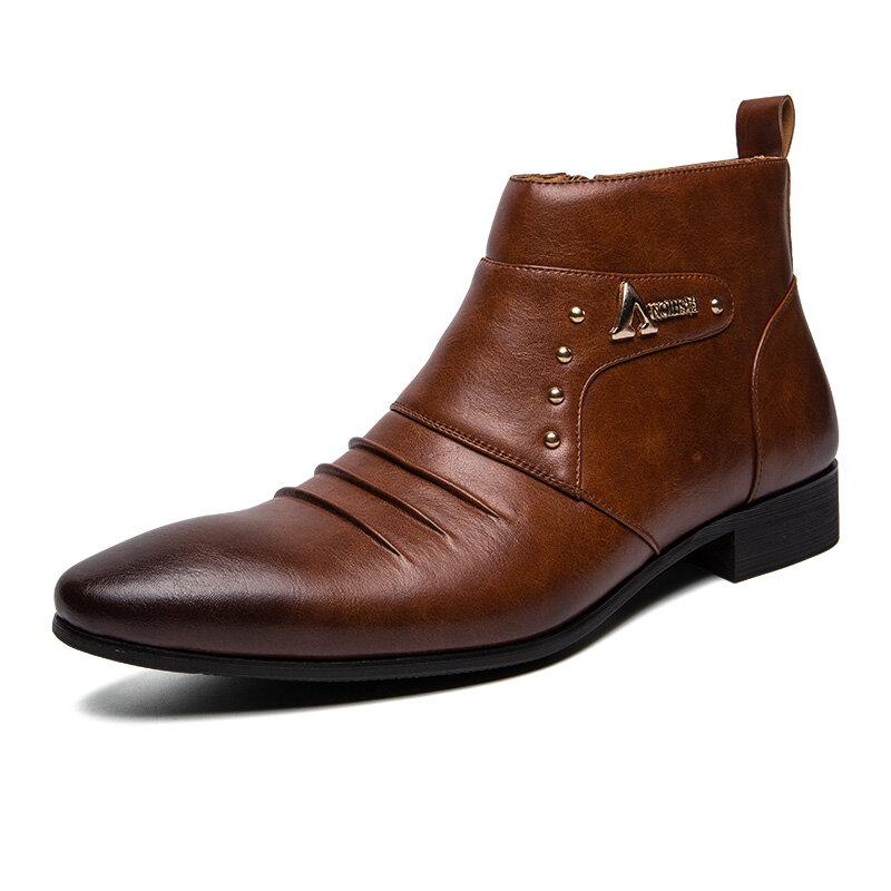 גברים מקורי עור אמיתי הצביע אצבע נעלי עסקים
