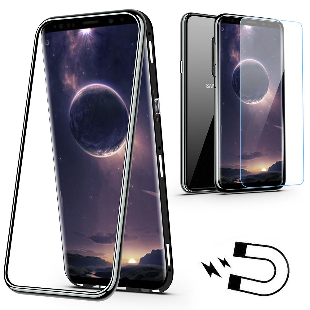 Bakeey Protective Case With Film For Samsung Galaxy S9 Plus Magnetic Adsorption Metal+Clear Tempered Glass Full Body Cover