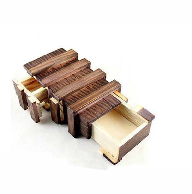 Antique Vintage Wooden Storage Hidden Magic Gift Box Brain Teaser Puzzle Chest Toy