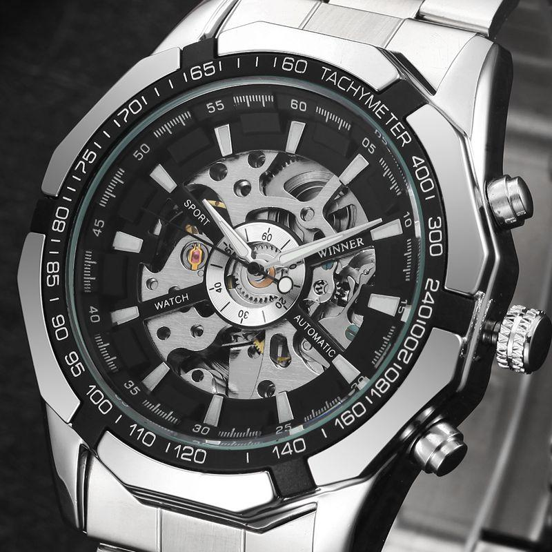 MN4493 Men Full Stainless Steel Watch Self-Wind Mechanical Wrist Watch