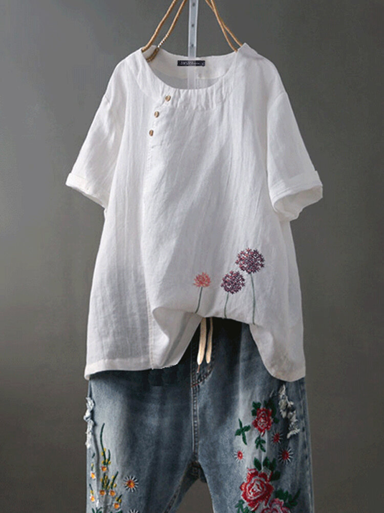 Mujer manga corta O-cuello bordado floral vendimia blusa