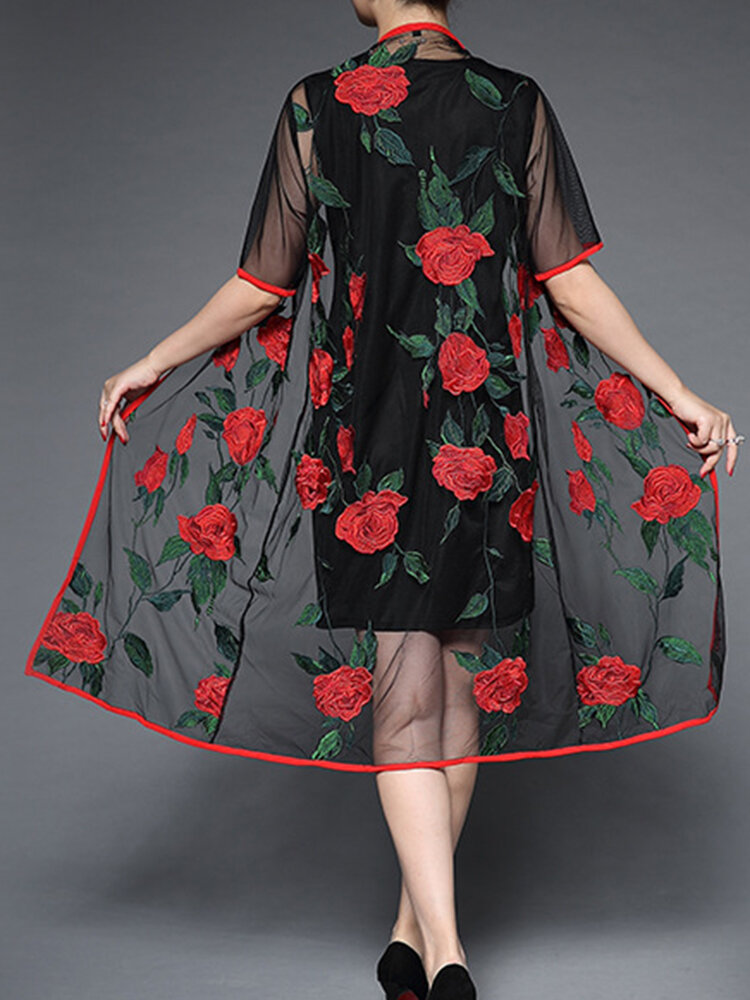 Elegant Women Floral Embroidery Long Dress and Cardigan