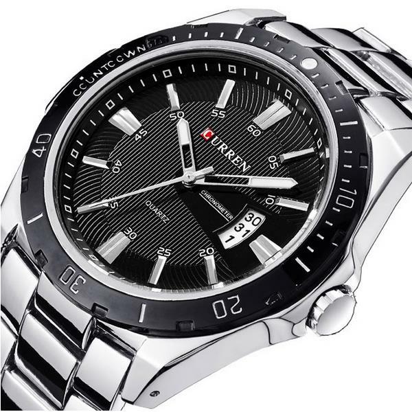 CURREN 8110 Silver Black Date Sport Stainless Steel Strap Men Wrist Watch