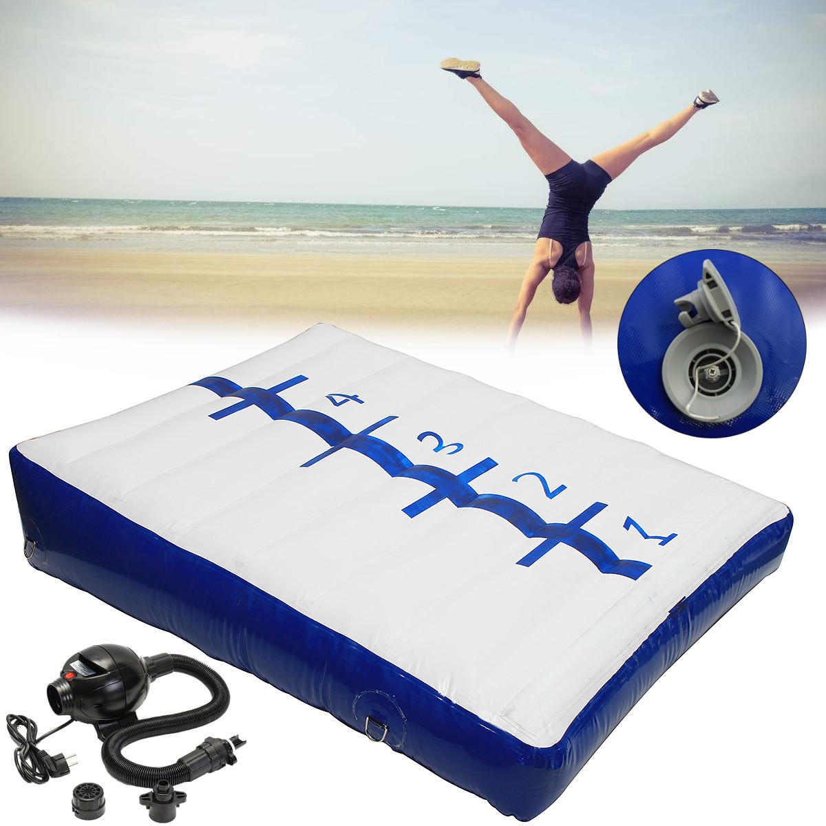 78.7x59ft Inflatable Gymnastics Tumbling Mat Home Air Track Floor Sports Protective Gear With Pump