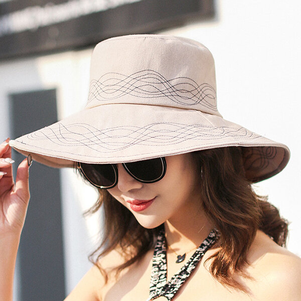37b7d9711 Women Traveling 100% Washed Cotton Bucket Hat Summer Classic Outdoor Wide  Brimmed Cap