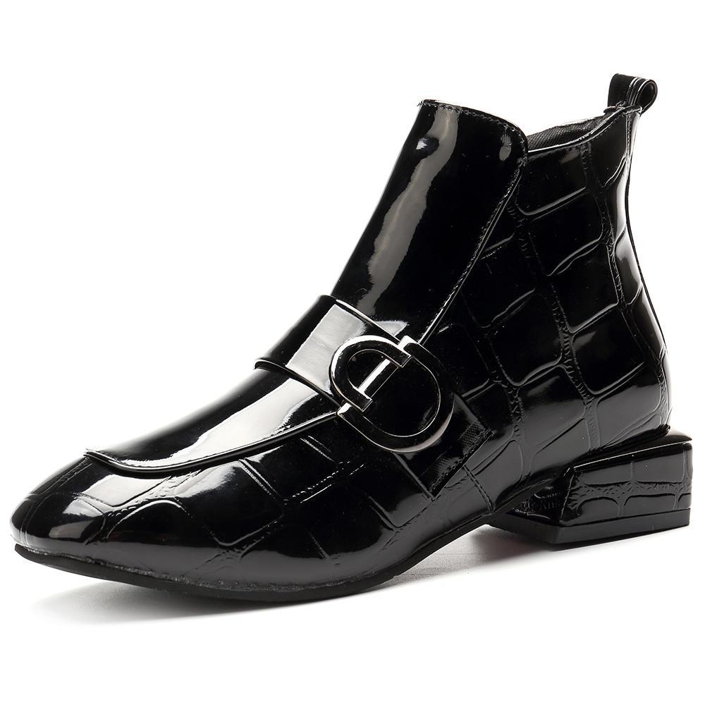 נשים שיק הבלטה פטנט באקל רוכסן נעליים