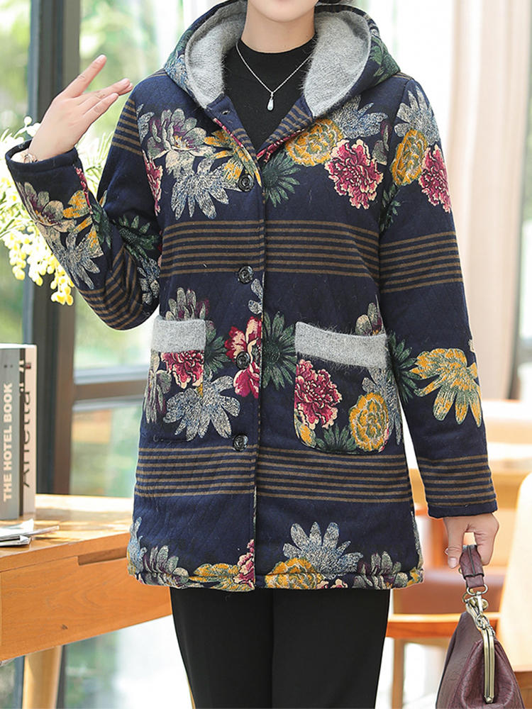 Vintage Women Floral Print Patchwork Button Long Sleeve Hooded Coats