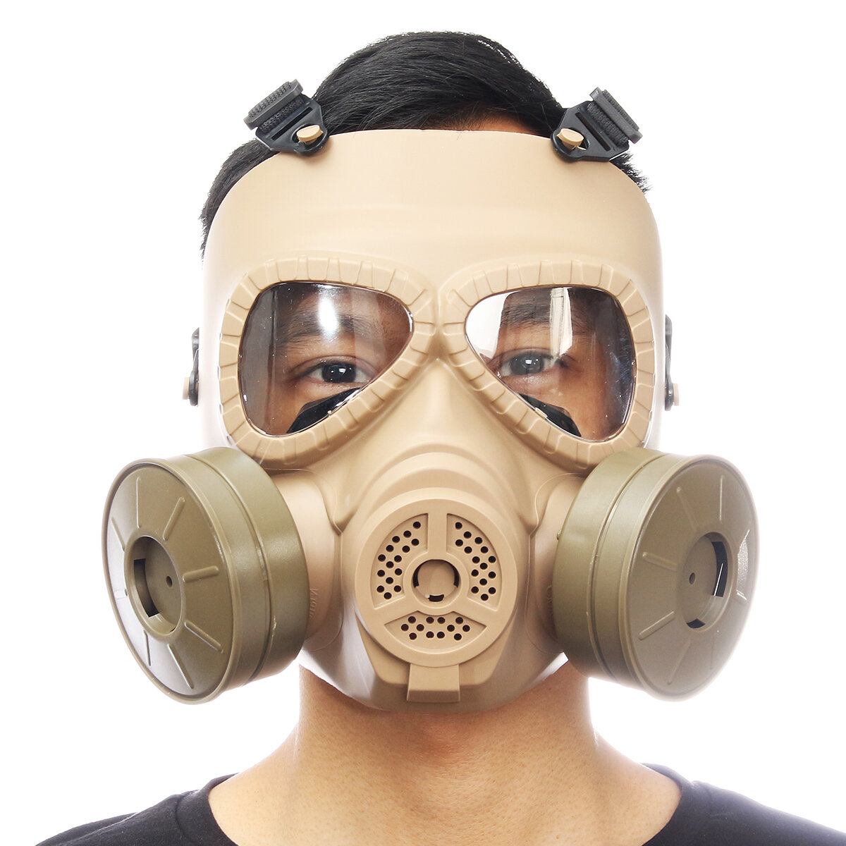 Bernapas Gas Mask Double Filter Fan CS Edition Keringat Debu Wajah Penjaga