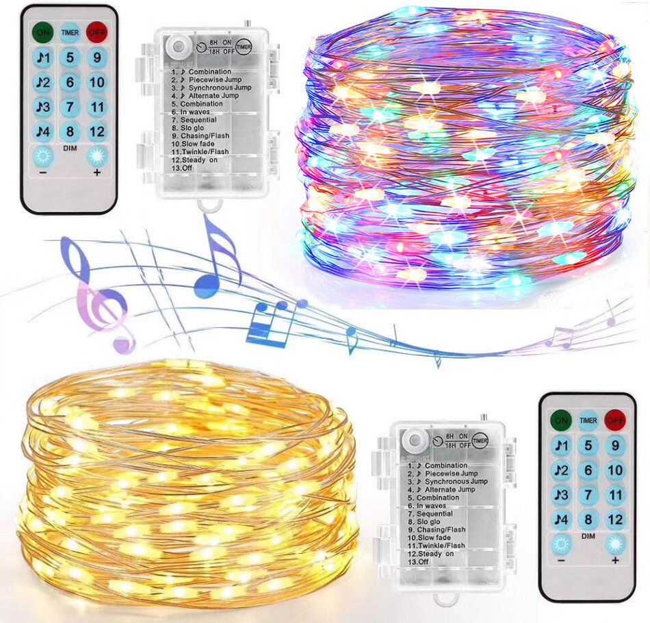 YOZATIA 50100LEDs 32.8ft Sound Activated Music LED String Lights 12 Modes Waterproof Silver Wire Multicolor USB Powered Fairy Lights with Remote Control for Home Party Birthday Wedding Decor