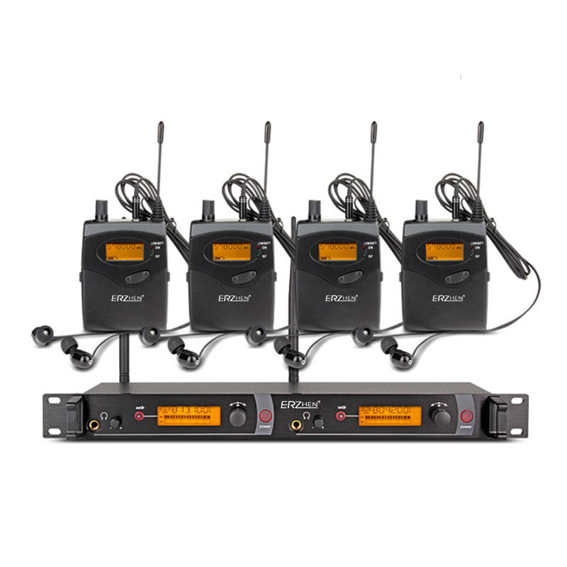ERZhen In Ear Wireless Stage Monitor System 2 Channel 4 Bodypack Karaoke Microphone System