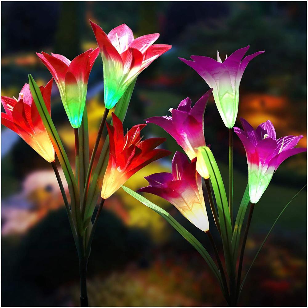 2ピース4ledソーラーパワーユリの花ステークライトマルチカラー変更防水屋外ガーデンランプ