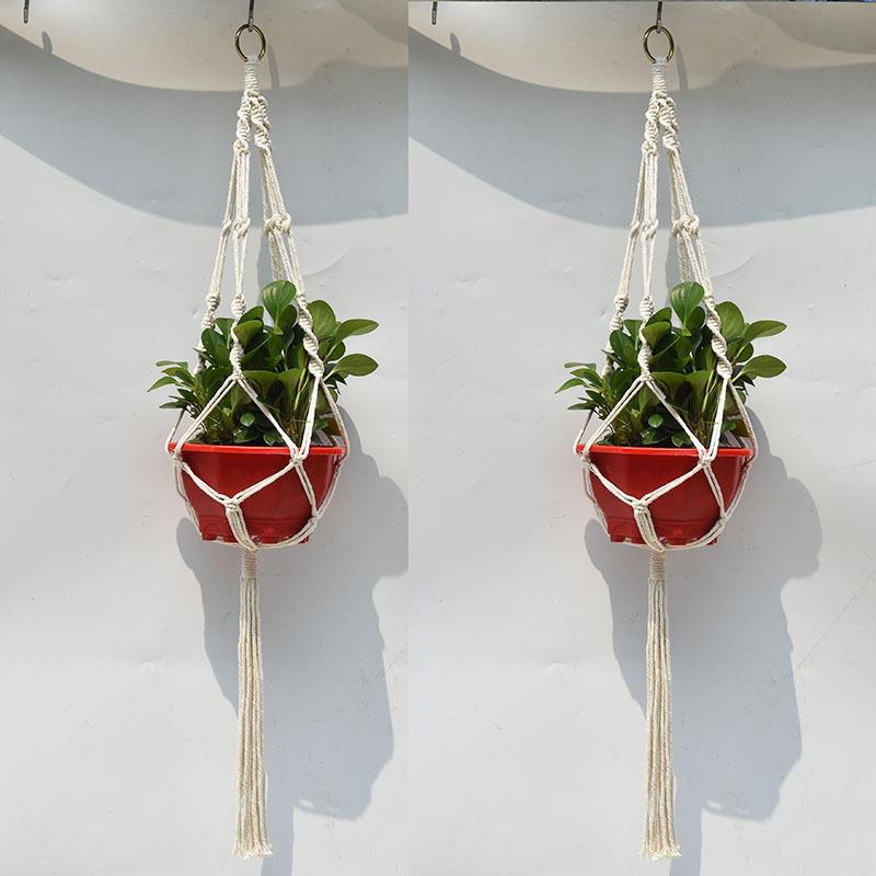 Banggood & 4 Legs Hand Knitting Cotton a Flower Pot Holder Hanging Basket Flower Plant Hanger Rope Hand Knitting Cotton and Hemp Rope Plant Hanger Flower Pot ...