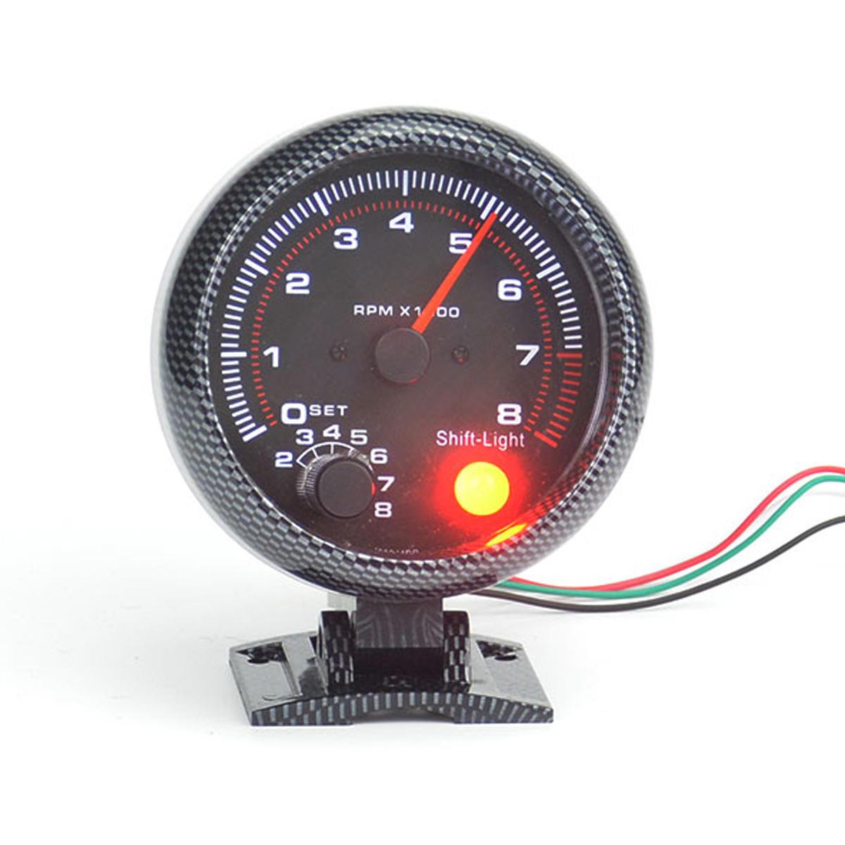 "3.75/"" Universal 12V Car Tachometers Tacho Gauge Meter LED Shift Light 0-8000 RPM"