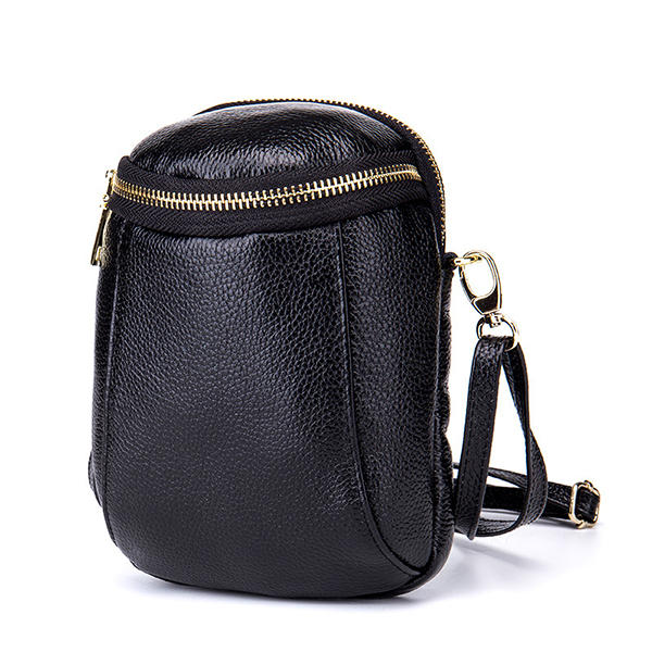 detailed look 0b201 0f41e Women Genuine Leather Zipper Shoulder Bags Two Pockets Crossbody Bags 5.5''  Phone Purse For Iphone 7