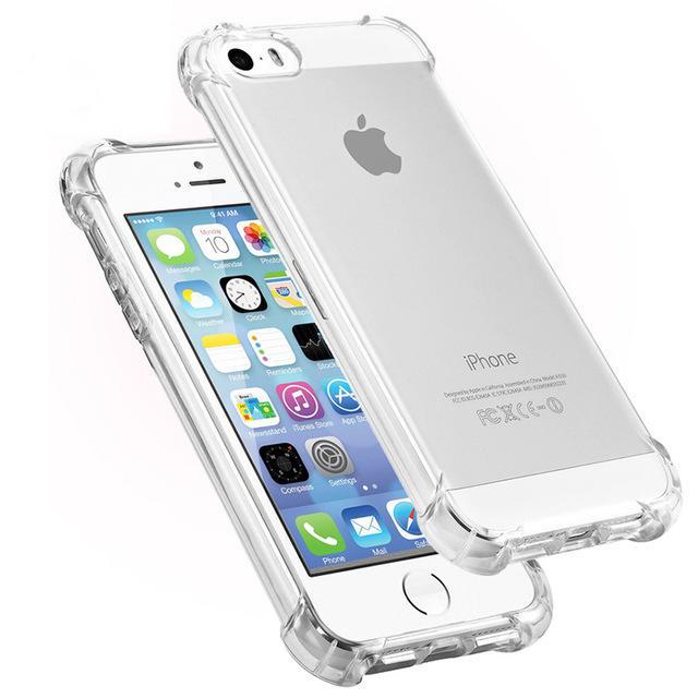 Airbag Ultra Thin Transparent Shockproof Soft TPU Veske til iPhone 5 5S SE
