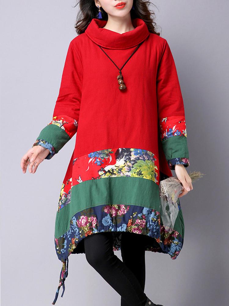 Vintage Floral Patchwork Long Sleeve Turtleneck Loose Women Dress