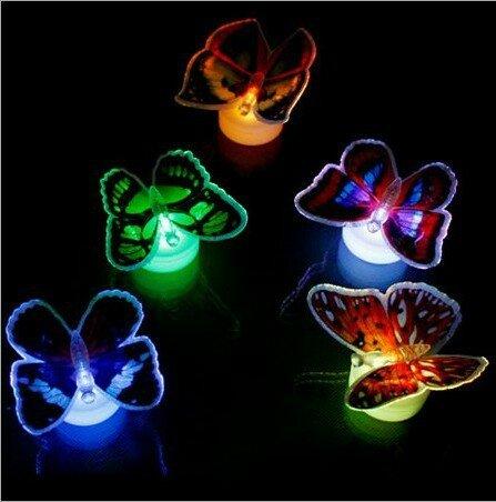 LED Мигающий свет ночи бабочки цвета меняющиеся декоративные огни 3D наклейки домашнего декора